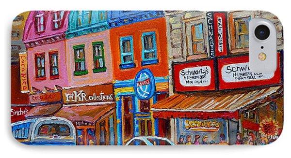 Schwartzs Deli Restaurant Montreal Smoked Meat Plateau Mont Royal Streetscene Carole Spandau IPhone Case by Carole Spandau
