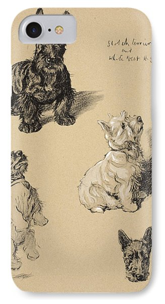 Scotch Terrier And White Westie IPhone Case by Cecil Charles Windsor Aldin