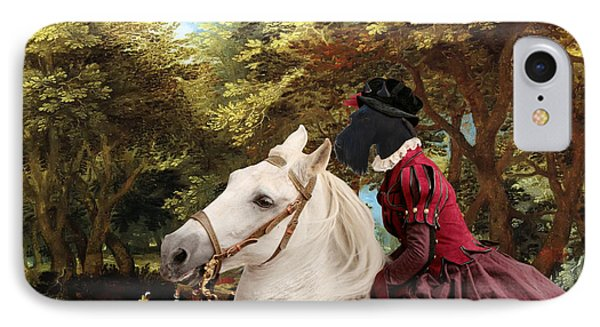 Scottish Terrier Art - Pasague With Horse Lady IPhone Case by Sandra Sij