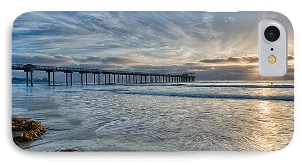 Scripps Pier Sky And Motion IPhone Case by Peter Tellone