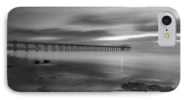 Scripps Pier Twilight - Black And White IPhone Case by Peter Tellone