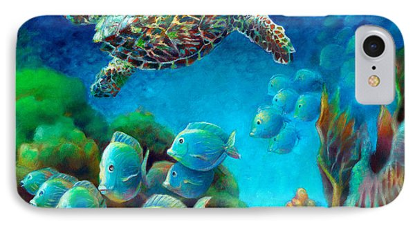 Sea Escape IIi - Hawksbill Gemstone Turtle IPhone Case by Nancy Tilles