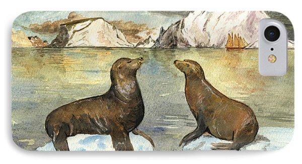 Sea Lions IPhone Case by Juan  Bosco