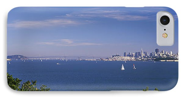 Sea With The Bay Bridge And Alcatraz IPhone Case by Panoramic Images