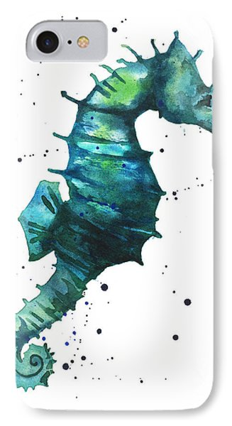 Seahorse In Teal IPhone 7 Case by Alison Fennell