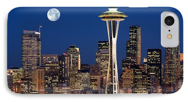 Seattle At Full Moon Phone Case by Inge Johnsson