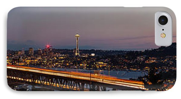 Seattle Night Panorama Cityscape IPhone Case by Mike Reid