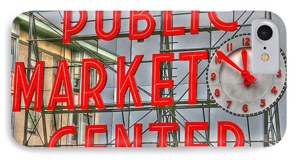 Seattle Public Market Center Clock Sign Phone Case by Tap On Photo