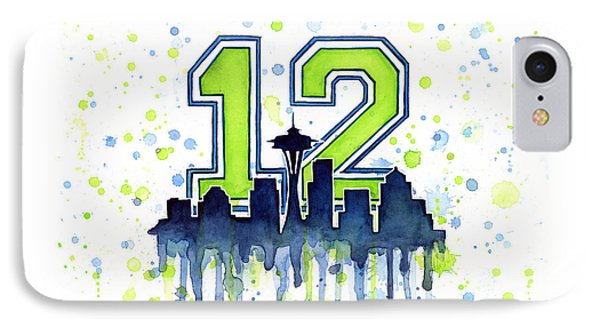 Seattle Seahawks 12th Man Art IPhone Case by Olga Shvartsur