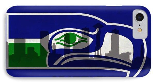 Seattle Seahawks On Seattle Skyline IPhone Case by Dan Sproul