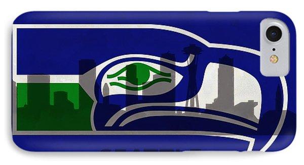 Seattle Seahawks On Seattle Skyline IPhone 7 Case by Dan Sproul