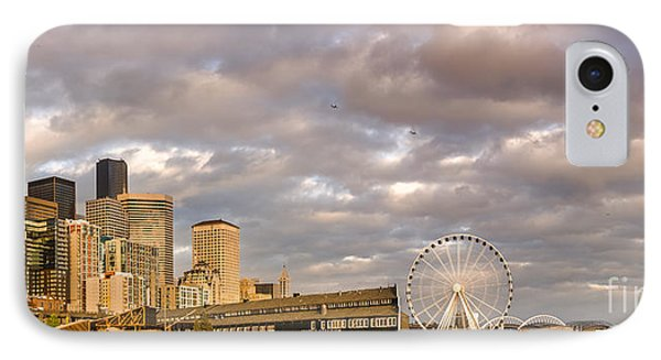 Seattle Waterfront Bathed In Golden Hour - Seattle Skyline - Puget Sound Washington State IPhone Case by Silvio Ligutti