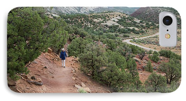 Senior Woman Hiking IPhone Case by Jim West