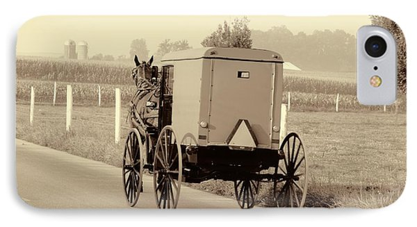 Sepia Amish Buggy IPhone Case by Dan Sproul