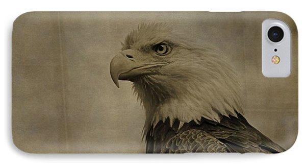 Sepia Bald Eagle Portrait IPhone Case by Dan Sproul