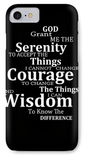 Serenity Prayer 5 - Simple Black And White IPhone Case by Sharon Cummings