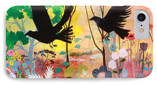 Seven Circling Crows Phone Case by Robin Maria Pedrero