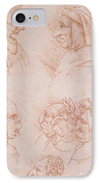 Seven Studies Of Grotesque Faces IPhone Case by Leonardo da Vinci