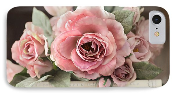 Shabby Chic Vintage Roses - Dreamy Ethereal Peach Pink Roses Garden Cottage Art IPhone Case by Kathy Fornal
