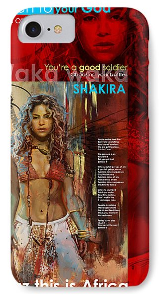 Shakira Art Poster IPhone Case by Corporate Art Task Force