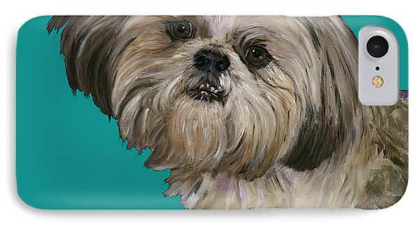 Shih Tzu On Turquoise Phone Case by Dale Moses