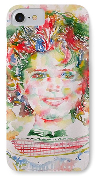 Shirley Temple - Watercolor Portrait.1 IPhone Case by Fabrizio Cassetta