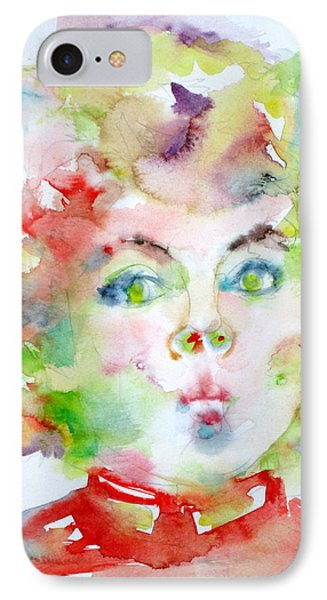 Shirley Temple - Watercolor Portrait.2 IPhone Case by Fabrizio Cassetta