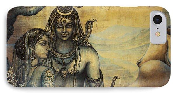 Shiva Parvati . Spring In Himalayas Phone Case by Vrindavan Das