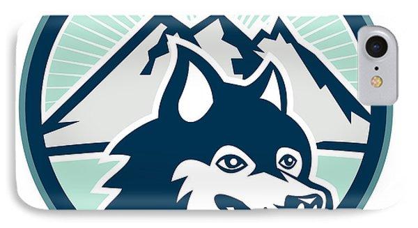 Siberian Husky Dog Head Mountain Retro Phone Case by Aloysius Patrimonio