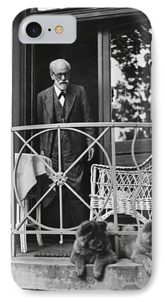 Sigmund Freud With His Chows IPhone Case by Underwood Archives
