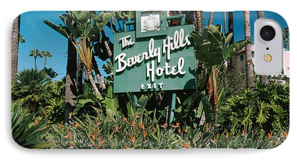 Signboard Of A Hotel, Beverly Hills IPhone 7 Case by Panoramic Images