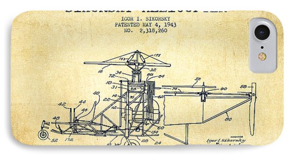 Sikorsky Helicopter Patent Drawing From 1943-vintage IPhone 7 Case by Aged Pixel