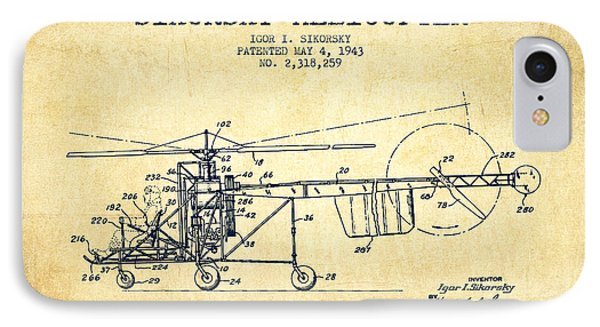 Sikorsky Helicopter Patent Drawing From 1943-vintgae IPhone 7 Case by Aged Pixel