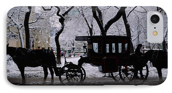 Silhouette Of Horse Drawn Carriages IPhone Case by Panoramic Images