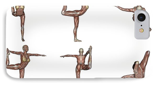 Six Different Views Of Dancer Yoga Pose IPhone Case by Elena Duvernay