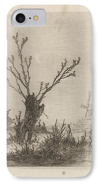 Skater With Sled Near A Willow, Print Maker Johannes IPhone Case by Johannes Franciscus Hoppenbrouwers