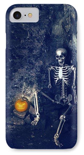 Skeleton With Jack O Lantern IPhone Case by Amanda Elwell