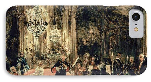 Sketch For The Flute Concert IPhone Case by Adolph Friedrich Erdmann von Menzel