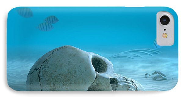 Skull On Sandy Ocean Bottom IPhone Case by Johan Swanepoel