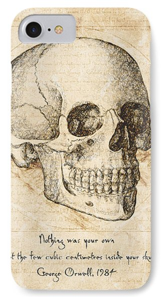 Skull Quote By George Orwell IPhone Case by Taylan Apukovska
