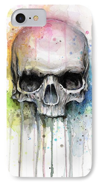 Skull Watercolor Painting IPhone Case by Olga Shvartsur