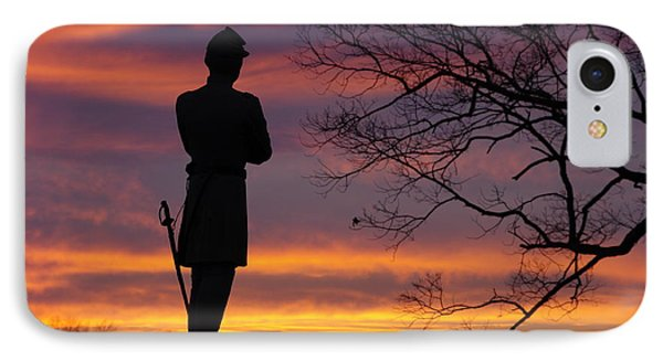 Sky Fire - 124th Ny Infantry Orange Blossoms-1a Sickles Ave Devils Den Sunset Autumn Gettysburg Phone Case by Michael Mazaika