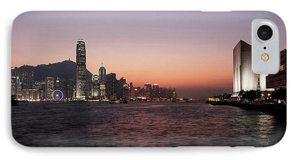 Skyline At Waterfront During Dusk IPhone Case by Panoramic Images