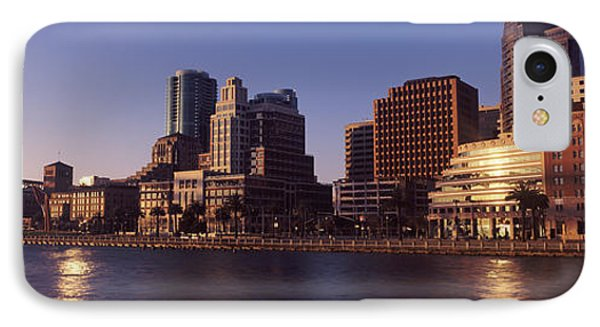 Skyscrapers And Bay Bridge At Sunset IPhone Case by Panoramic Images
