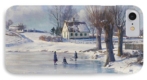 Sledging On A Frozen Pond IPhone Case by Peder Monsted