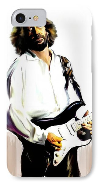Slow Hand  Eric Clapton IPhone 7 Case by Iconic Images Art Gallery David Pucciarelli