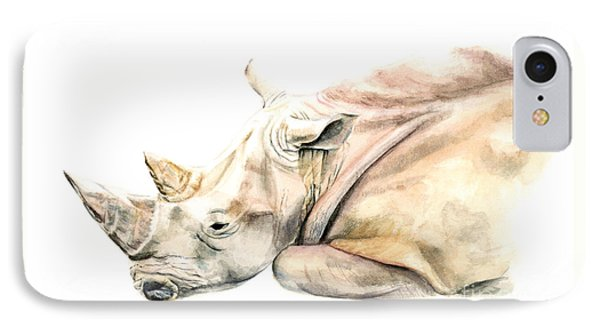 Small Colour Rhino IPhone Case by Elizabeth Lock