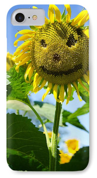 Smiling Sunflower IPhone Case by Donna Doherty