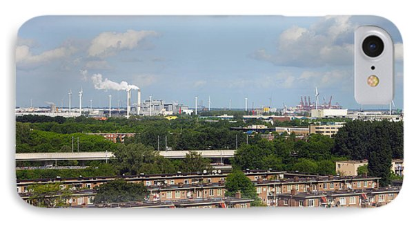 Smoke Stacks And Windmills At Power IPhone Case by Panoramic Images