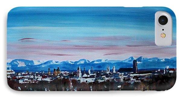 Snow Covered Munich Winter Panorama With Alps Phone Case by M Bleichner